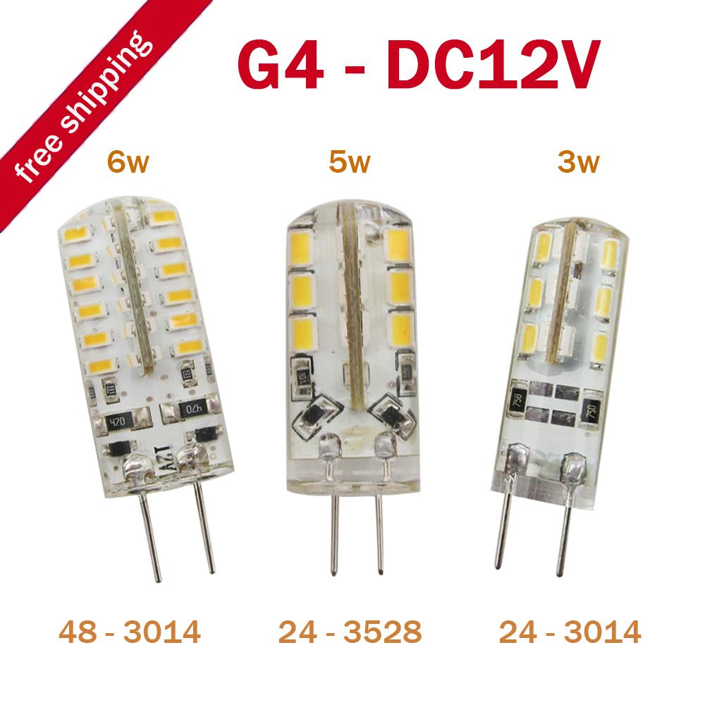 10pcs/lot G4 LED Bulb Lamp 3W / 5W / 6W 3014 SMD 24 LED Light Bulb Whie / Warm White DC 12V LED Lighting(China (Mainland))