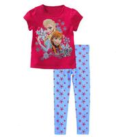 2014 new  Frozen set children clothing set girls set baby set baby clothes short-sleeve T-shirt +pant kids suit girl set