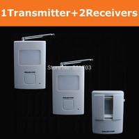 New Updated! Motion detection Wireless Doorbells:1 Waterproof infrared motion sensor detector+2 Doorbell chime Receivers alarm