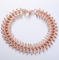 14mm 18K  Rose Gold Filled Bracelet Hammered Centipede  Womens Girls Chain 7-11 inch Wholesale Jewelry