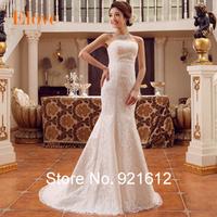 2015 Casamento Mariage Cheap Vestido De Novia Gown Bride Sexy Fashionable Mermaid Lace Vintage Train Simple Wedding Dress WDB214