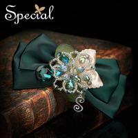 Special Dark Green Silk Bow Knot Hair Clip Free Shipping Alloy Hair Grip Handmade Hair Jewelry FS141128