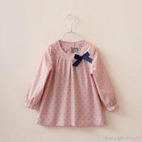 2014 spring summer girl child stripe o-neck long-sleeve shirt  dot bow girl blouses C0097