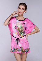New Arrival Sexy Wholesale butterfly Print summer dress, Batwing Sleeve plus size Beach Dress, Exotic Summer Sundress WY308
