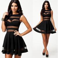 2014 New Fashion Casual Dress Vestidos Femininos Sexy Black Mesh Panel Big Swing Club Skater Dress Mini Party Summer Dress 9038