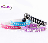 (Retail) 4Colors available Crystal Cat Collars With Elastic Safety Belt 10% off for 2pcs!