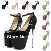 Women's Sexy Pumps 2015 New Fashion Brand Ultra 19CM Crystal Heel Red Bottom High Heels Platform Party Pumps Big Size 35-40