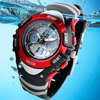 Fashion Children Watches Dual Time LED Digital Quartz Multifunctional 30m Waterproof Swim Student Sports Watch 6COLORS