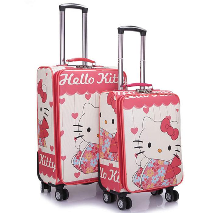 sport bag women and men travel bag Cartoon KT PU universal wheels trolley case, new style, travel luggage, lock, mute,24(China (Mainland))