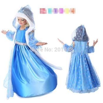 Gaun anak gaun malam pesta biru christams xmas pakaian dengan jubah