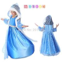 Hu sunshine retail new 2014 Autumn Fall Frozen Anna dress kids blue party evening dresses Christams Xmas clothes with cloak
