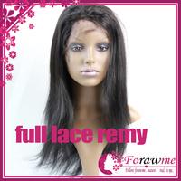 Forawme #1b straight virgin full lace swiss wigs 5A brazillian remy human hair lace full wigs 130% medium size wigs straight