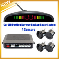 High Quality Car Numeral And Color LED Display Parking Reverse Backup Radar System With 4 Sensors Multi-Colors,Free Shipping