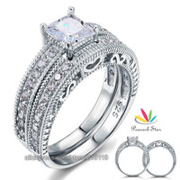 Vintage Style Victorian Art Deco 1 Carat Created Diamond Real Sterling 925 Silver 2-Pc Wedding Engagement Ring Set CFR8104