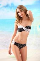 2014 new fashion Brand European American Screwed together patchwork pearl dot sexy women bikinis set swimsuit swimwear V8062