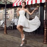 Brand New Fashion design Sweetheart Sleeveless Chiffon Flowers Crystal Party Dress, Short Front Long Back Evening Dress