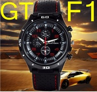 2014 Rushed Hot Sale Glass Watches Sports Watches Fashion Hour Marks Round Dial Case Racing F1gt Grand Touring Watch For Men