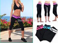 2014NEW Spring Summer Hot V Stripped High Waist Bodybuilding Yoga Spots Fitness Women Legging Short Capris Hot Sale Wholesale