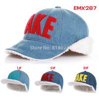 Hot Selling Children Winter Hats 6 colors ! Denim Cloth Velvet Ear Hats Unisex Boys And Girls Warm Winter Bomber Hats for 2-6T