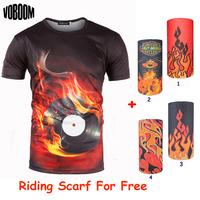 Male 3d t shirt men 2015 New Summer Fashion High quality t shirts Casual O-neck CD burning men's t-shirts European Size M-XXL