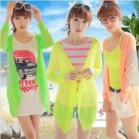 803.blusas femininas 2014 Women Spring Summer long sleeve tops Candy Colors beach cool lace Blouse vestidos Chiffon cardigans