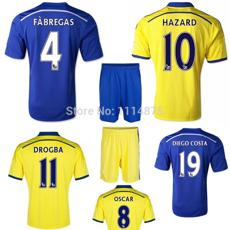 High quality kits 14 15 Chelsea soccer jerseys HAZARD DIEGO COSTA home football shirts+shorts FASBREGAS away Soccer uniforms set(China (Mainland))