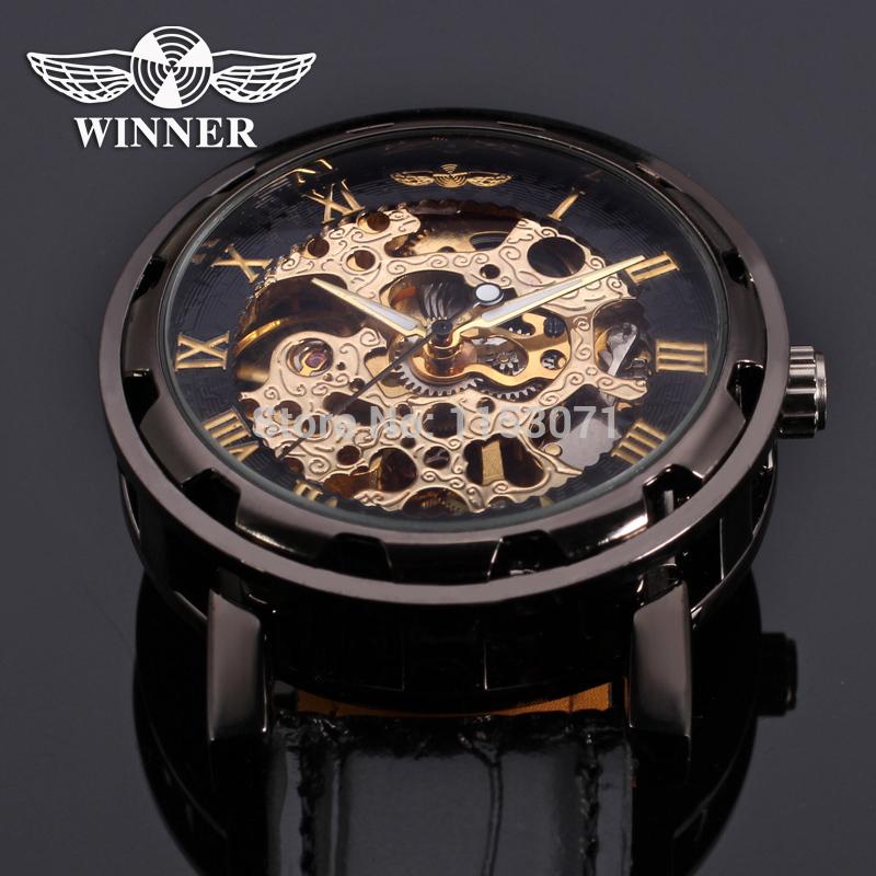 WRG8008M3B2 2015 Winner men hand wind skeleton fashion black luxury watches with watch box high quality best price factory(China (Mainland))