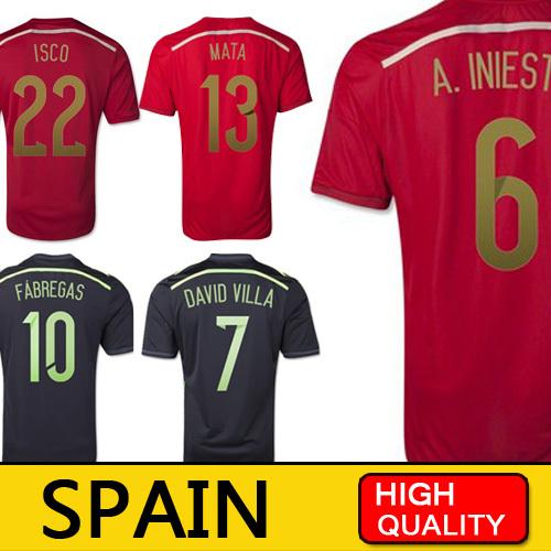 Spain World Cup 2014 Xavi ISCO A iniesta Fabregas Spain Jersey Espanha camiseta espana 2014 Spain Shirt camisetas de futbol(China (Mainland))