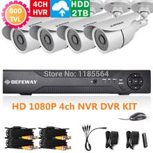DEFEWAY CCTV system kit 4CH FULL D1 960H 720P 1080P DVR NVR Hybrid DVR with1000G HDD  4 x 700 TVL  IR-CUT Outdoor/Indoor Cameras