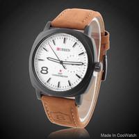 Military Watch CURREN M8139 Analog Genuine leather Strap Sports Watches Steel Case Men's Quartz Wristwatch Hot Sale