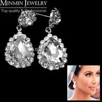 2014 New Arrival Free Shipping Teardrop Imitation Gemstone Crystal Bridal Earrings for Women Wedding Jewelry Wedding Accessories