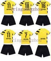 THAI QUALITY 2014 15 Borussia Dortmund Home AWAY Kids REUS KAGAWA  HUMMELS REUS Lewandowski children Football Jersey + Short