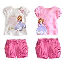 varejo 2.014 novos t -shirt + shorts de verão congelados 100% algodão crianças roupas vestuário conjuntos meninas definido princesa frete grátis set Sofia(China (Mainland))