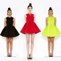 New 2014 spring summer dress women fashion candy sheds dress summer sleeveless mini dress black/red/Fluorescent green on sale