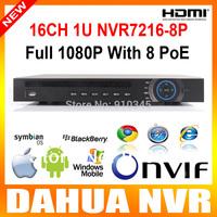 New arrivl 16 channel DAHUA NVR 1080P/720P 1U 2HDD 8ch poe ports 16ch Network Video Recorder.NVR5216-P Upgrade NVR7216-8P