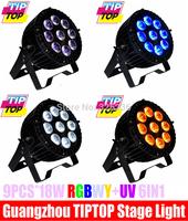 4pcs/Lot Waterproof 9pcs*18W RGBWY+UV Led Par64 Light IP65 Led Par Cans Hi-Quality  DMX Par Led Stage Light 6/10Channels