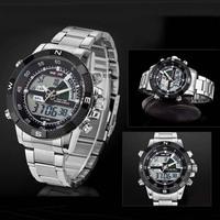 Weide watches men luxury brand millitary sports quartz watch digital led relogio masculino full stainless steel men wristwatch