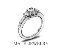 Sterling Silver Three-Stone Simulated Diamond engagement Ring (MATE R116)