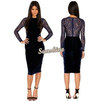New 2014 Fashion Women Spring Summer Long Sleeve Blue Velvet Lace Patchwork Knee Length Slim Bodycon Bandage Dress SV000818 B19