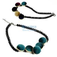 Europe Women's Retro Fashion Velvet Geometric Short Necklace 16112 #11