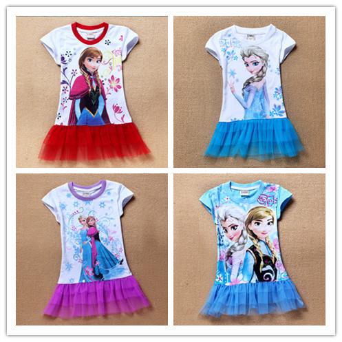2014 New 2-8yrs Girls' Frozen Dress kid's 2014 cartoon summer dress girl's tutu girl's princess dress girl's lovable dress(China (Mainland))