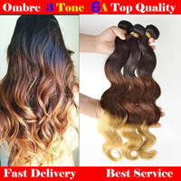 3 three tone color Ombre hair extensions1b#/4#/27# Eurasian Virgin Remy Hair hair weave 4pcs lot