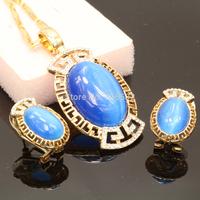 Blue Opal & Auden Rhinestone Chain Pendant Necklace Brand For Women Fashion Jewellery