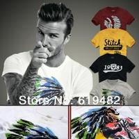 New 2014 Men's T Shirt Print Sewing Short Sleeve Cotton T-shirts Male Quality Fashion Brand Design Causal Slim Tshirt For Men