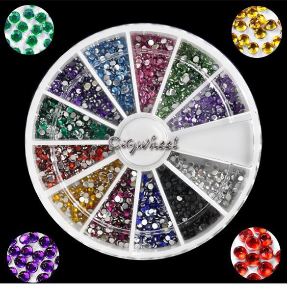 Holiday Sale! 1.5MM 2000pcs 12 Colors Nail Art rhinestones 3d Decoration For UV Gel Acrylic Systems 4056 b004(China (Mainland))