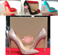 2014 New women's pumps red bottoms high heel shoes luxury designer  nude patent genuine leather heels stiletto wedding shoes