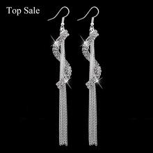 Vintage Tassel Dangle Earrings Gold Plated SWA Element Austrian Crystal Earrings Fashion Big Geometric Design Jewelry SER140037