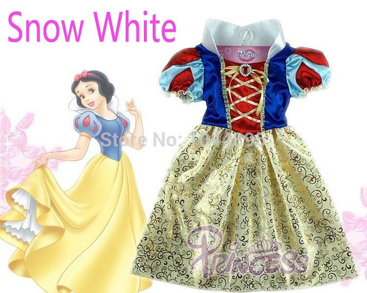 Retail,New 2014 Summer Kids Baby Girl Dress Snow White Princess Dresses Cosplay Costumes,Cosplay Dress,Fantasia Vestidos(China (Mainland))