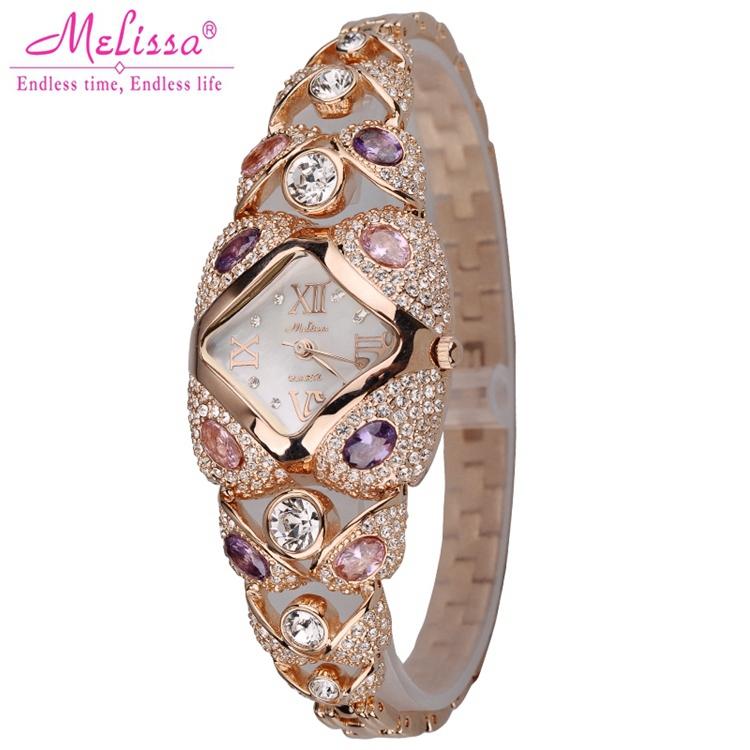 Ladies jewelry bracelet wristwatches women dress rhinestone watches fashion casual quartz watchLuxury brand Melissa 8016 clocks
