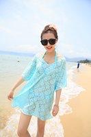 [little dara]Freeshipping 2014 new summer beach swimwear lace cover up pareo bikini tunic one_plus dress 3 color
